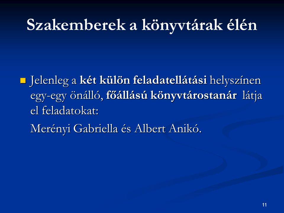 11  Jelenleg a két külön feladatellátási helyszínen egy-egy önálló, főállású könyvtárostanár látja el feladatokat: Merényi Gabriella és Albert Anikó.