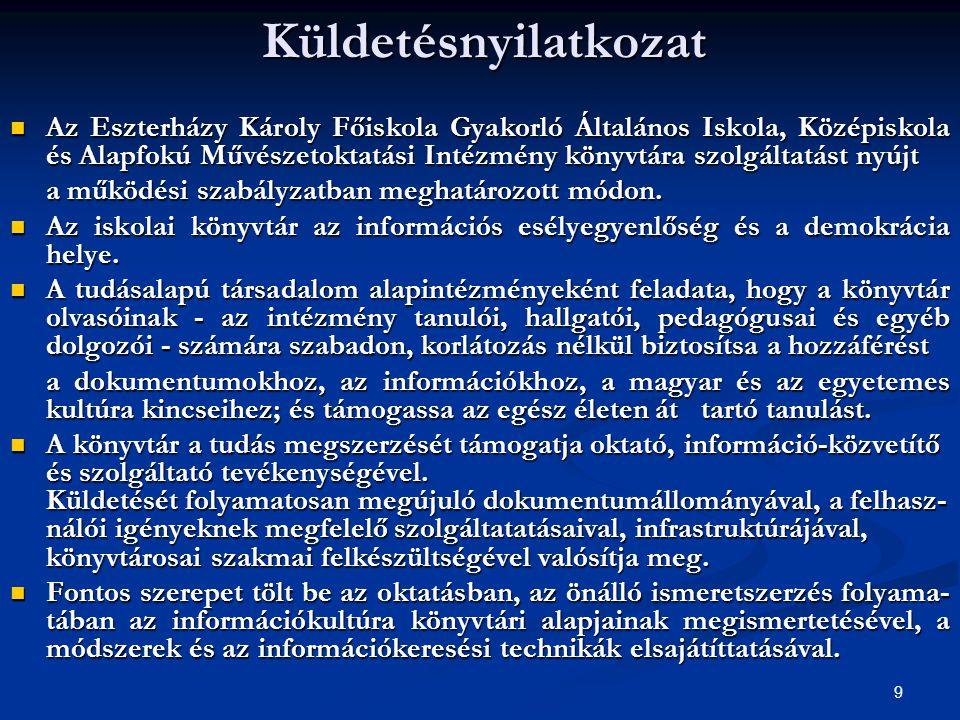 9Küldetésnyilatkozat  Az Eszterházy Károly Főiskola Gyakorló Általános Iskola, Középiskola és Alapfokú Művészetoktatási Intézmény könyvtára szolgálta