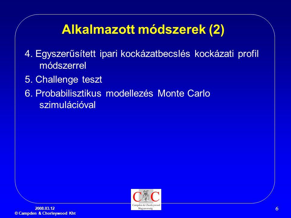 2008.03.12 © Campden & Chorleywood Kht 6 Alkalmazott módszerek (2) 4. Egyszerűsített ipari kockázatbecslés kockázati profil módszerrel 5. Challenge te