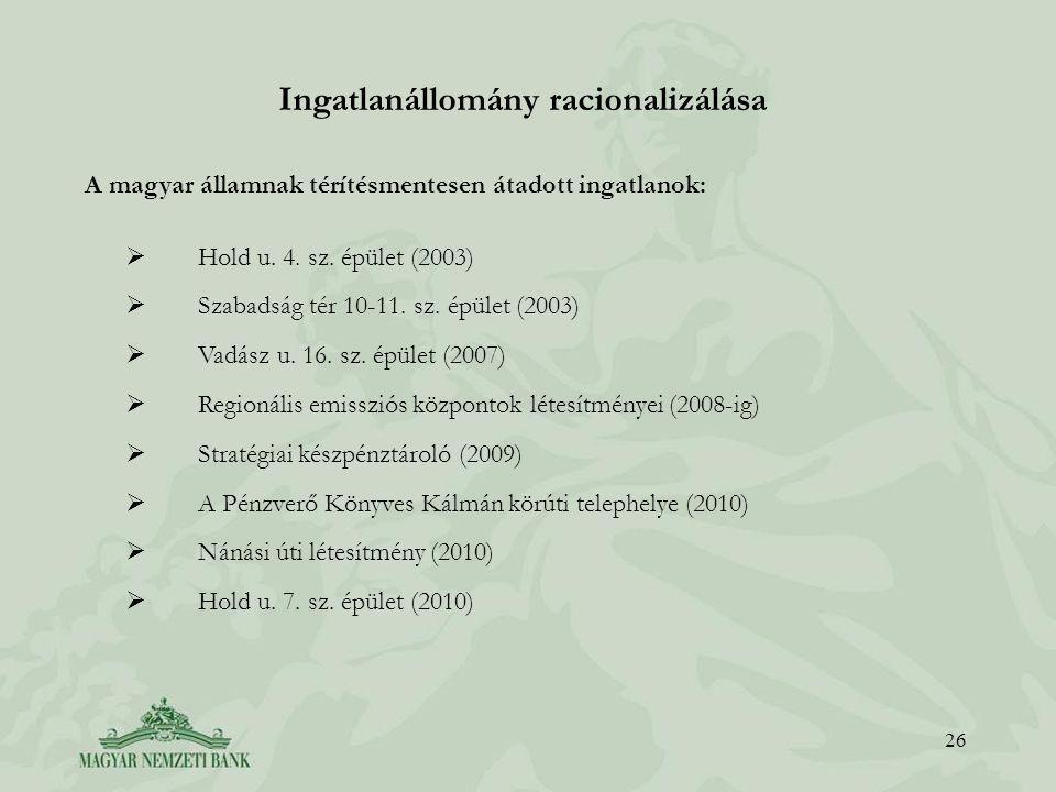 Ingatlanállomány racionalizálása 26 A magyar államnak térítésmentesen átadott ingatlanok:  Hold u.