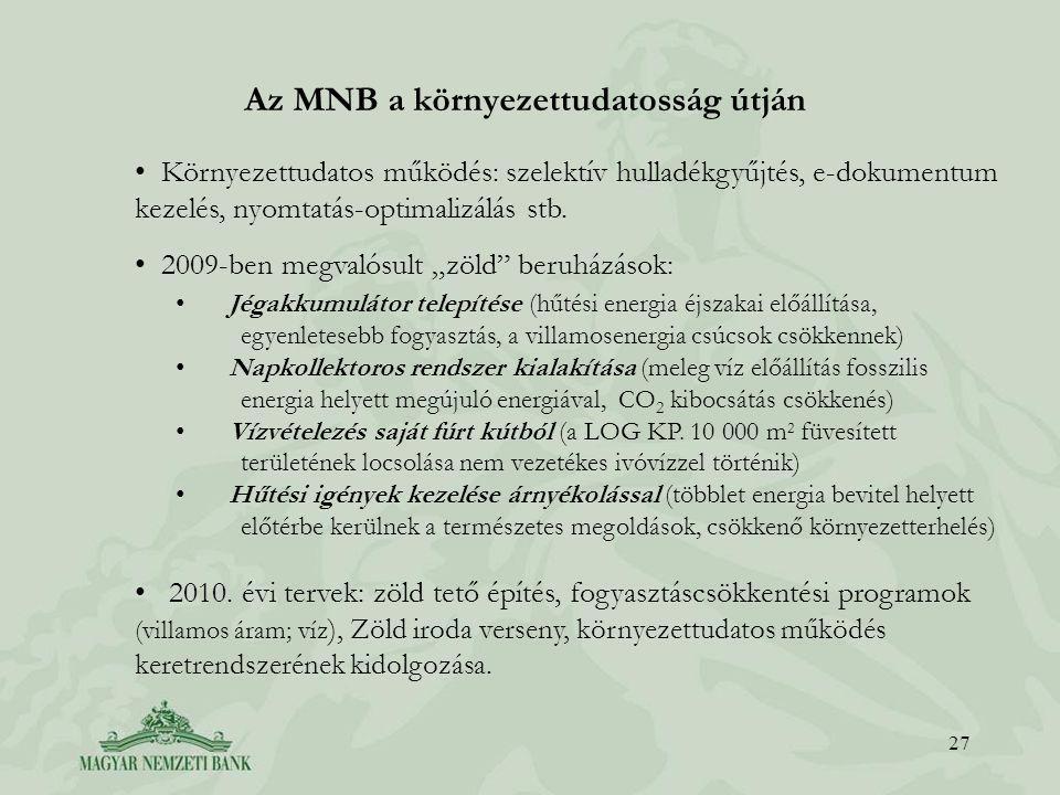 Az MNB a környezettudatosság útján 27 • Környezettudatos működés: szelektív hulladékgyűjtés, e-dokumentum kezelés, nyomtatás-optimalizálás stb.