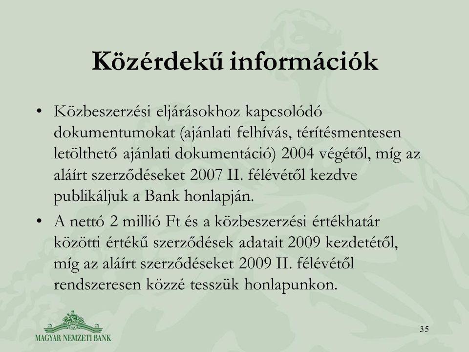 Közérdekű információk •Közbeszerzési eljárásokhoz kapcsolódó dokumentumokat (ajánlati felhívás, térítésmentesen letölthető ajánlati dokumentáció) 2004 végétől, míg az aláírt szerződéseket 2007 II.