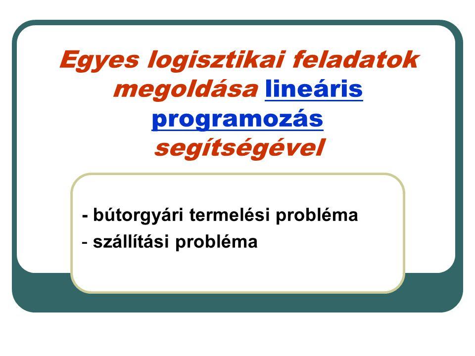 Egyes logisztikai feladatok megoldása lineáris programozás segítségével - bútorgyári termelési probléma - szállítási probléma