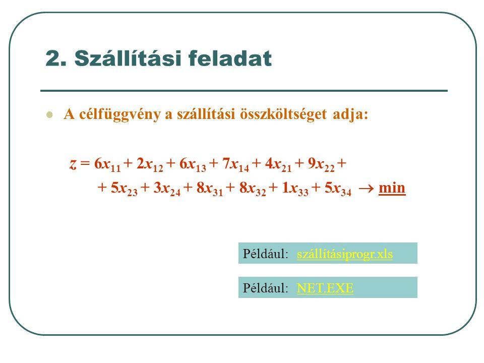 2. Szállítási feladat  A célfüggvény a szállítási összköltséget adja: z = 6x 11 + 2x 12 + 6x 13 + 7x 14 + 4x 21 + 9x 22 + + 5x 23 + 3x 24 + 8x 31 + 8