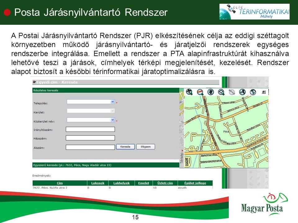15  Posta Járásnyilvántartó Rendszer A Postai Járásnyilvántartó Rendszer (PJR) elkészítésének célja az eddigi széttagolt környezetben működő járásnyilvántartó- és járatjelzői rendszerek egységes rendszerbe integrálása.