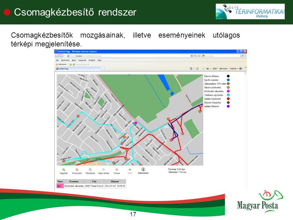 17  Csomagkézbesítő rendszer Csomagkézbesítők mozgásainak, illetve eseményeinek utólagos térképi megjelenítése.
