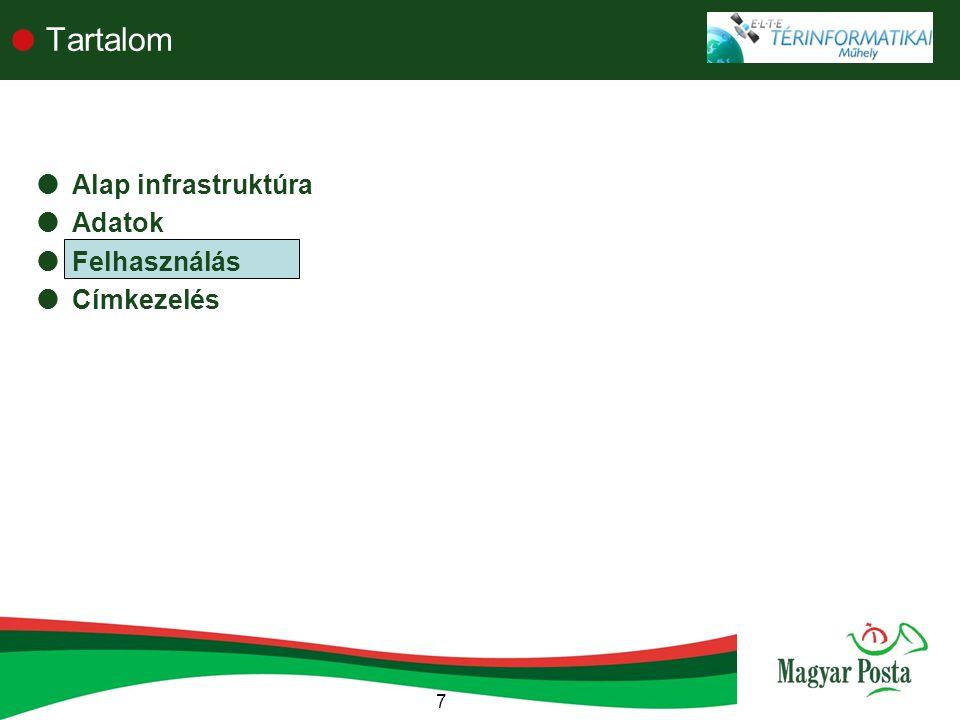7  Tartalom  Alap infrastruktúra  Adatok  Felhasználás  Címkezelés