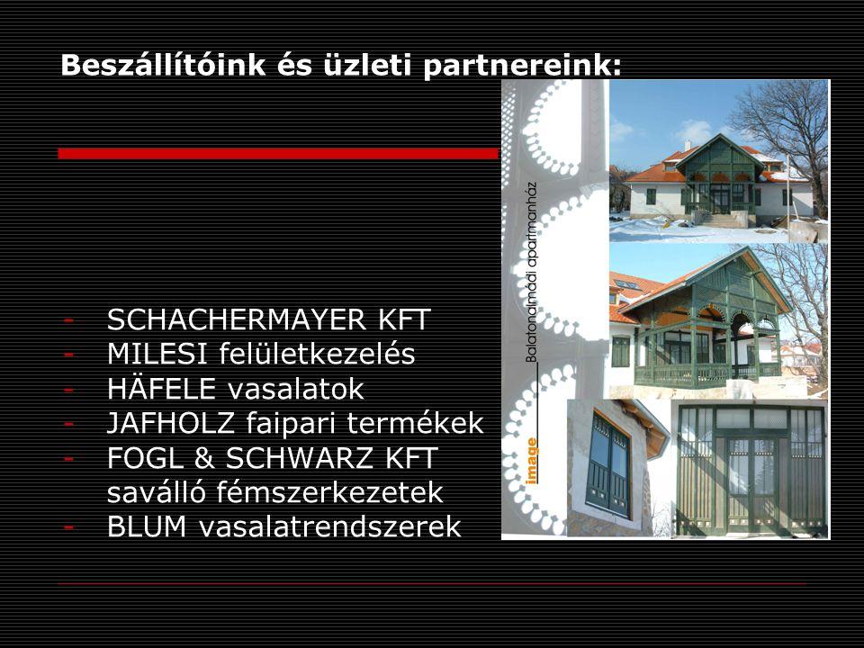 Beszállítóink és üzleti partnereink: -SCHACHERMAYER KFT -MILESI felületkezelés -HÄFELE vasalatok -JAFHOLZ faipari termékek -FOGL & SCHWARZ KFT saválló