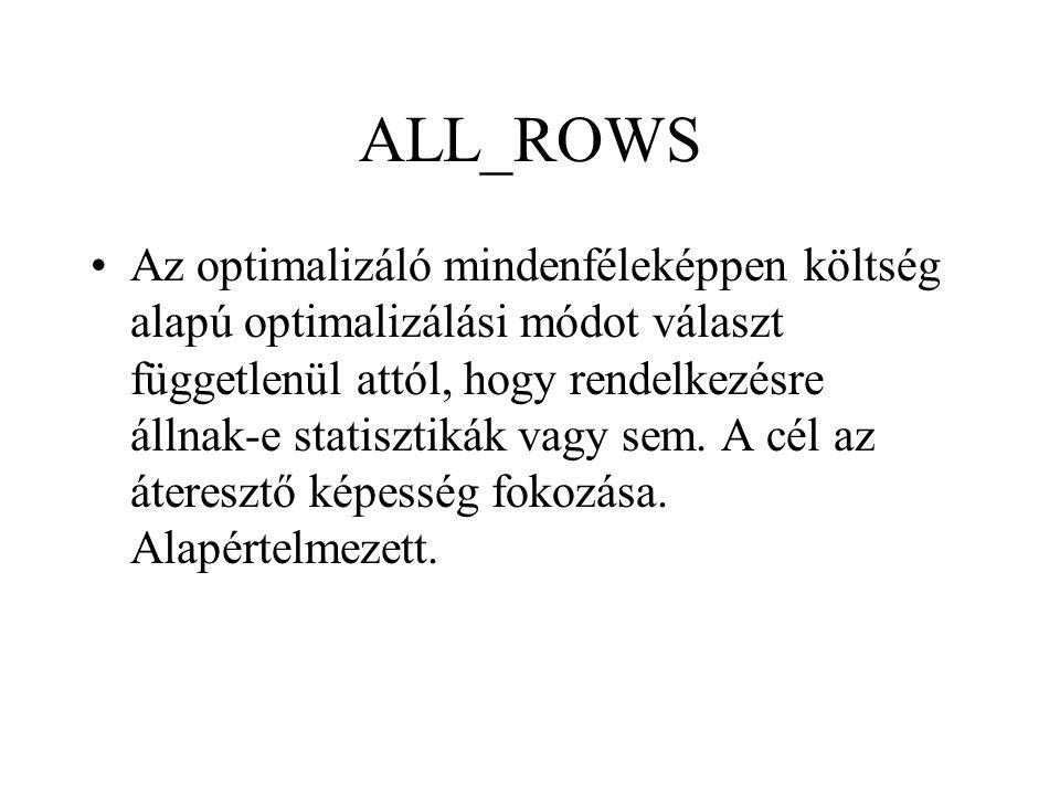 ALL_ROWS •Az optimalizáló mindenféleképpen költség alapú optimalizálási módot választ függetlenül attól, hogy rendelkezésre állnak-e statisztikák vagy sem.