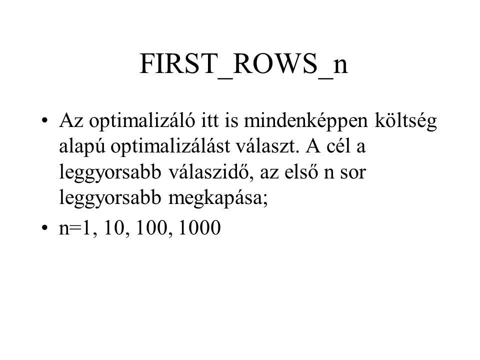 FIRST_ROWS_n •Az optimalizáló itt is mindenképpen költség alapú optimalizálást választ. A cél a leggyorsabb válaszidő, az első n sor leggyorsabb megka