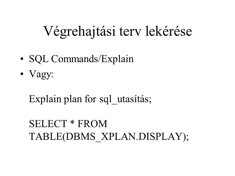 Végrehajtási terv lekérése •SQL Commands/Explain •Vagy: Explain plan for sql_utasítás; SELECT * FROM TABLE(DBMS_XPLAN.DISPLAY);