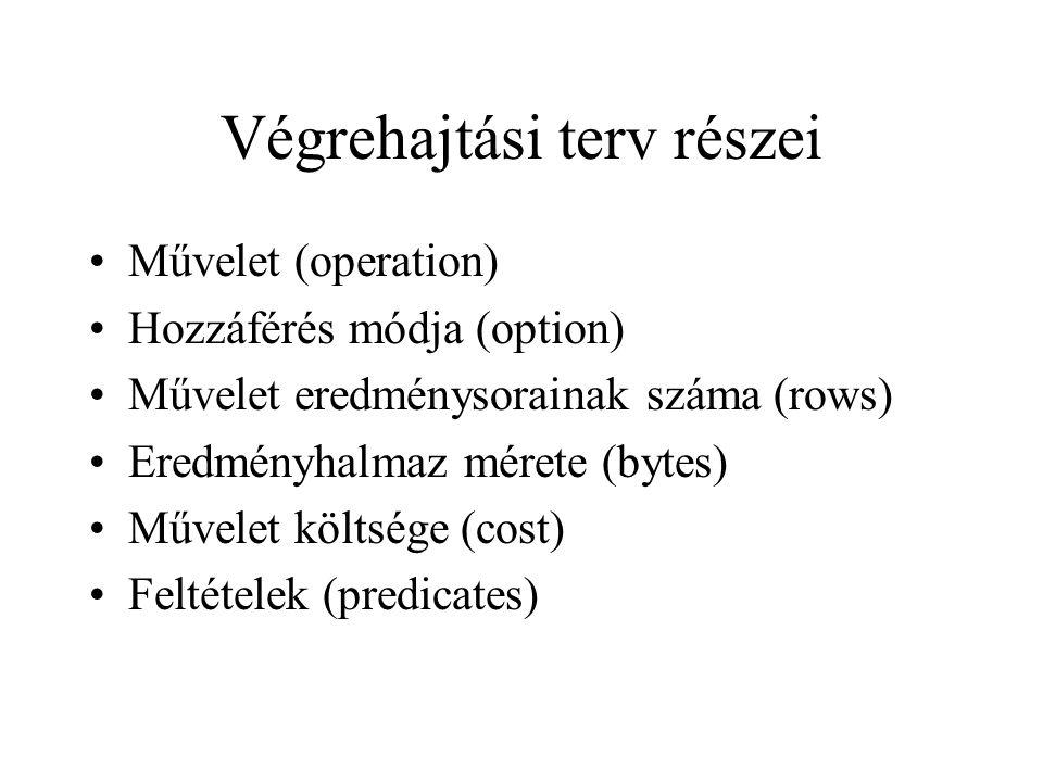 Végrehajtási terv részei •Művelet (operation) •Hozzáférés módja (option) •Művelet eredménysorainak száma (rows) •Eredményhalmaz mérete (bytes) •Művelet költsége (cost) •Feltételek (predicates)