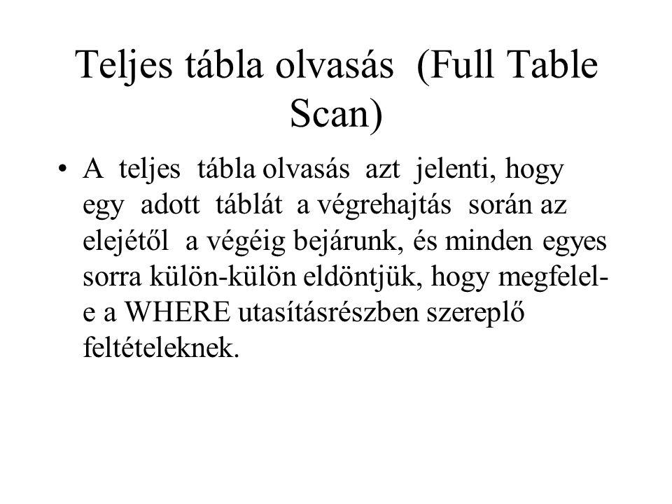 Teljes tábla olvasás (Full Table Scan) •A teljes tábla olvasás azt jelenti, hogy egy adott táblát a végrehajtás során az elejétől a végéig bejárunk, és minden egyes sorra külön-külön eldöntjük, hogy megfelel- e a WHERE utasításrészben szereplő feltételeknek.