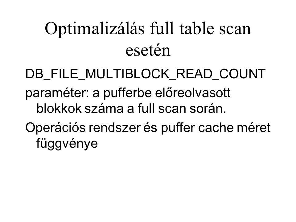 Optimalizálás full table scan esetén DB_FILE_MULTIBLOCK_READ_COUNT paraméter: a pufferbe előreolvasott blokkok száma a full scan során.