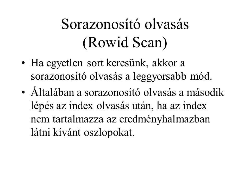 Sorazonosító olvasás (Rowid Scan) •Ha egyetlen sort keresünk, akkor a sorazonosító olvasás a leggyorsabb mód. •Általában a sorazonosító olvasás a máso