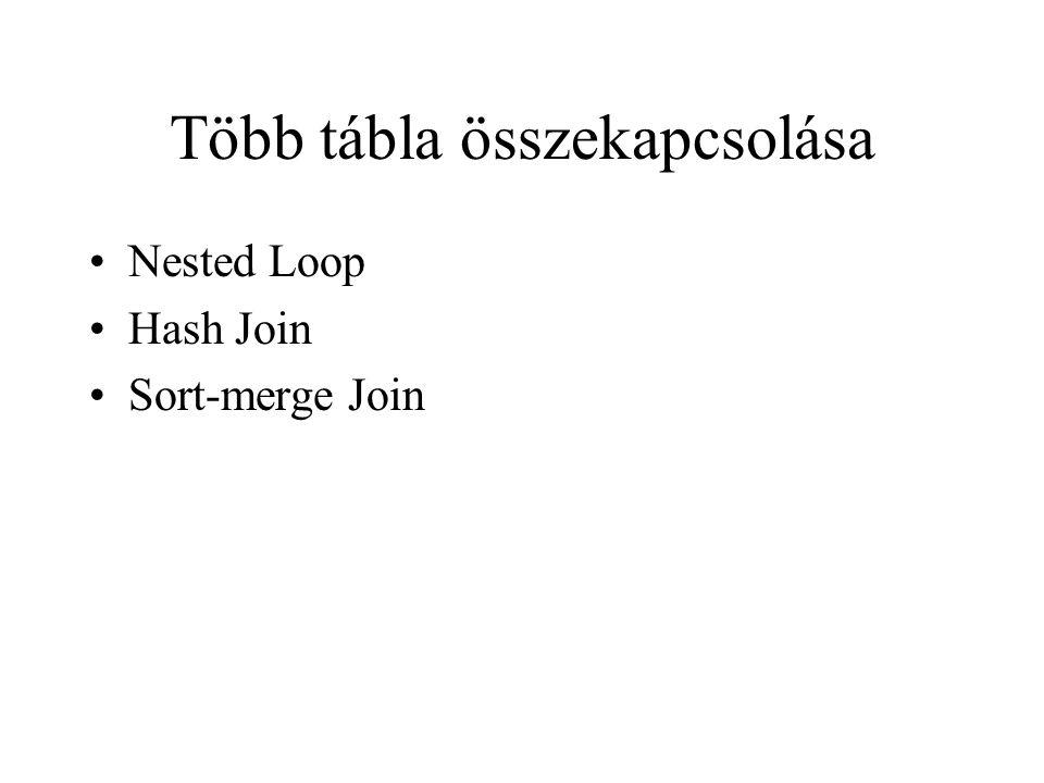 Több tábla összekapcsolása •Nested Loop •Hash Join •Sort-merge Join