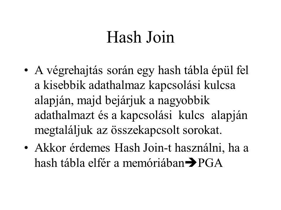 Hash Join •A végrehajtás során egy hash tábla épül fel a kisebbik adathalmaz kapcsolási kulcsa alapján, majd bejárjuk a nagyobbik adathalmazt és a kapcsolási kulcs alapján megtaláljuk az összekapcsolt sorokat.
