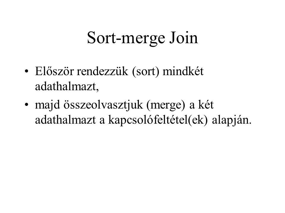 Sort-merge Join •Először rendezzük (sort) mindkét adathalmazt, •majd összeolvasztjuk (merge) a két adathalmazt a kapcsolófeltétel(ek) alapján.