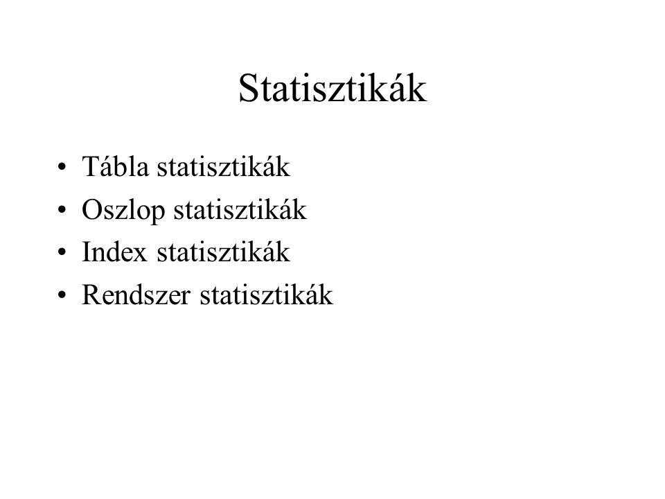 Statisztikák •Tábla statisztikák •Oszlop statisztikák •Index statisztikák •Rendszer statisztikák