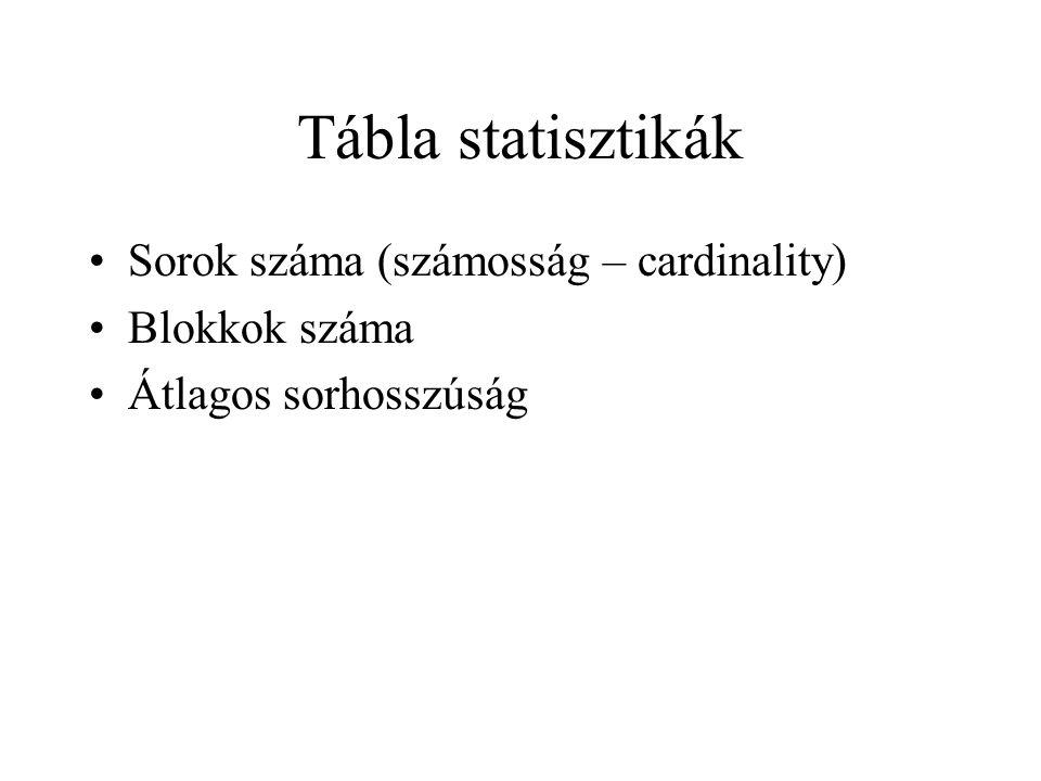 Tábla statisztikák •Sorok száma (számosság – cardinality) •Blokkok száma •Átlagos sorhosszúság
