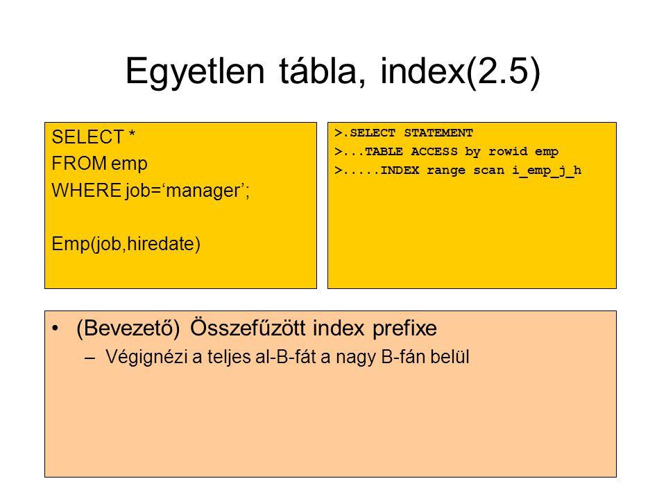 Egyetlen tábla, index(2.5) •(Bevezető) Összefűzött index prefixe –Végignézi a teljes al-B-fát a nagy B-fán belül >.SELECT STATEMENT >...TABLE ACCESS b