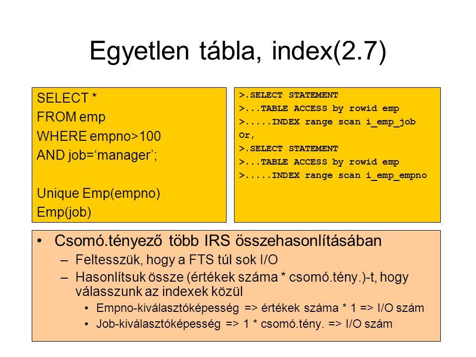 Egyetlen tábla, index(2.7) •Csomó.tényező több IRS összehasonlításában –Feltesszük, hogy a FTS túl sok I/O –Hasonlítsuk össze (értékek száma * csomó.t