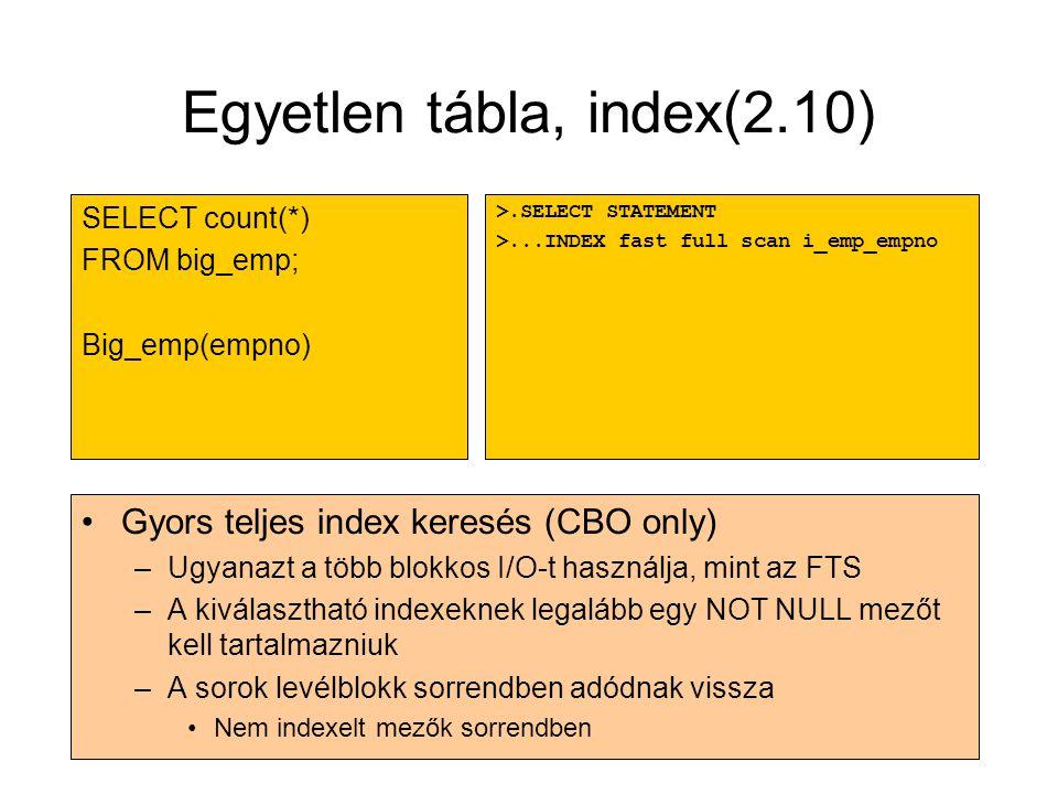 Egyetlen tábla, index(2.10) •Gyors teljes index keresés (CBO only) –Ugyanazt a több blokkos I/O-t használja, mint az FTS –A kiválasztható indexeknek l