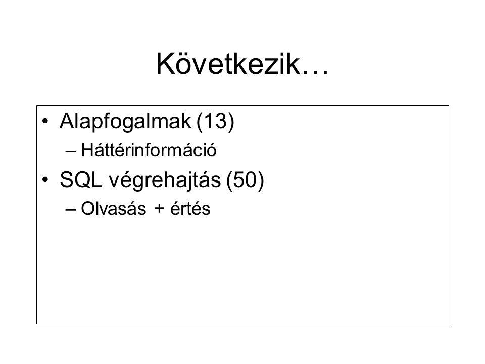 Következik… •Alapfogalmak (13) –Háttérinformáció •SQL végrehajtás (50) –Olvasás + értés