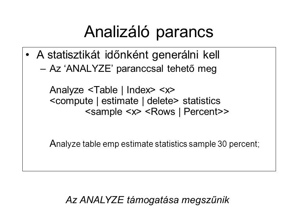Analizáló parancs •A statisztikát időnként generálni kell –Az 'ANALYZE' paranccsal tehető meg Analyze statistics > A nalyze table emp estimate statist