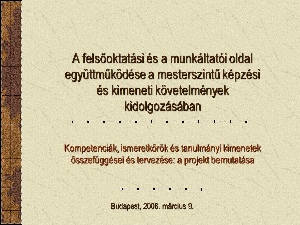 A felsőoktatási és a munkáltatói oldal együttműködése a mesterszintű képzési és kimeneti követelmények kidolgozásában Kompetenciák, ismeretkörök és tanulmányi kimenetek összefüggései és tervezése: a projekt bemutatása Budapest, 2006.