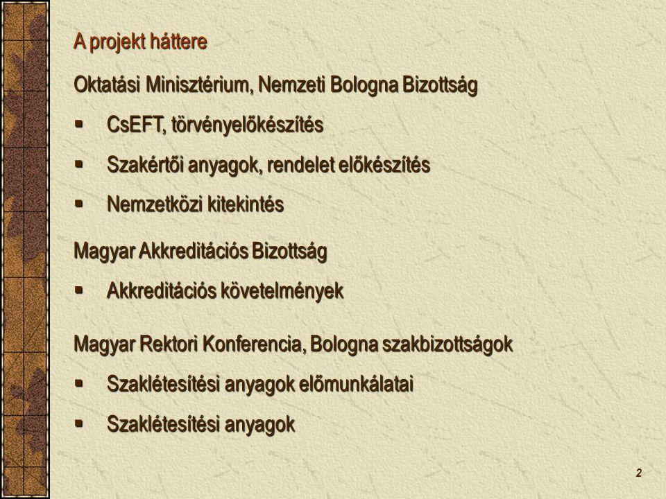 2 A projekt háttere  CsEFT, törvényelőkészítés  Szakértői anyagok, rendelet előkészítés  Nemzetközi kitekintés Magyar Rektori Konferencia, Bologna szakbizottságok  Szaklétesítési anyagok előmunkálatai  Szaklétesítési anyagok Magyar Akkreditációs Bizottság  Akkreditációs követelmények Oktatási Minisztérium, Nemzeti Bologna Bizottság