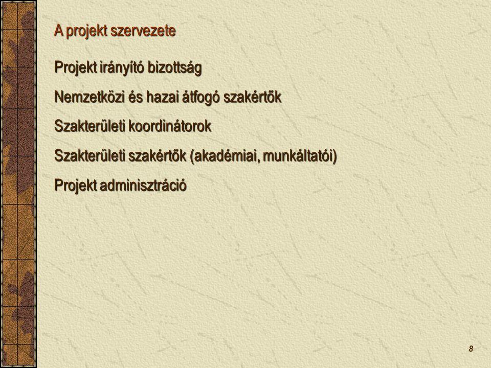 8 Projekt irányító bizottság Nemzetközi és hazai átfogó szakértők Szakterületi koordinátorok Szakterületi szakértők (akadémiai, munkáltatói) Projekt adminisztráció A projekt szervezete