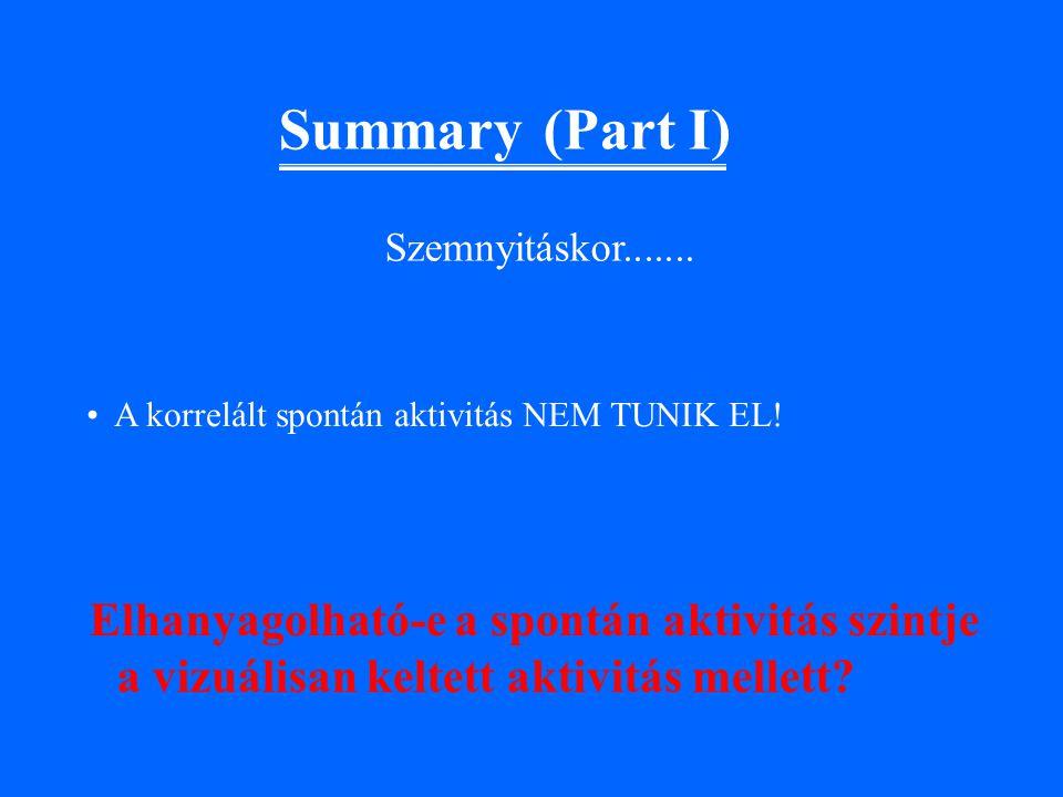 Summary (Part I) Elhanyagolható-e a spontán aktivitás szintje a vizuálisan keltett aktivitás mellett.