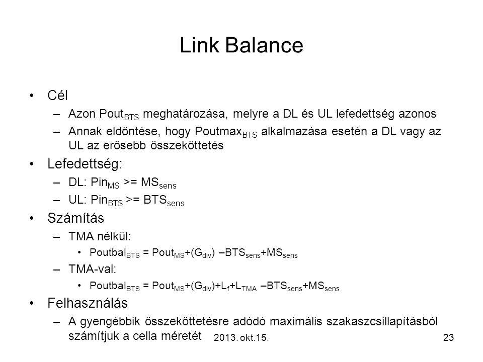 Link Balance •Cél –Azon Pout BTS meghatározása, melyre a DL és UL lefedettség azonos –Annak eldöntése, hogy Poutmax BTS alkalmazása esetén a DL vagy az UL az erősebb összeköttetés •Lefedettség: –DL: Pin MS >= MS sens –UL: Pin BTS >= BTS sens •Számítás –TMA nélkül: •Poutbal BTS = Pout MS +(G div ) –BTS sens +MS sens –TMA-val: •Poutbal BTS = Pout MS +(G div )+L f +L TMA –BTS sens +MS sens •Felhasználás –A gyengébbik összeköttetésre adódó maximális szakaszcsillapításból számítjuk a cella méretét 232013.