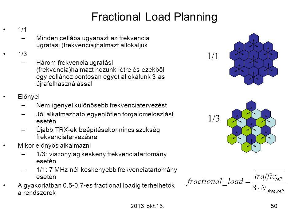 2013. okt.15.50 Fractional Load Planning •1/1 –Minden cellába ugyanazt az frekvencia ugratási (frekvencia)halmazt allokáljuk •1/3 –Három frekvencia ug