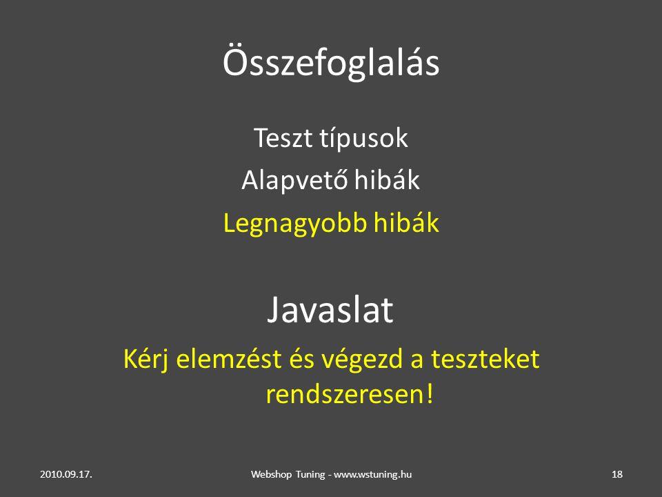 Összefoglalás Teszt típusok Alapvető hibák Legnagyobb hibák Javaslat Kérj elemzést és végezd a teszteket rendszeresen.