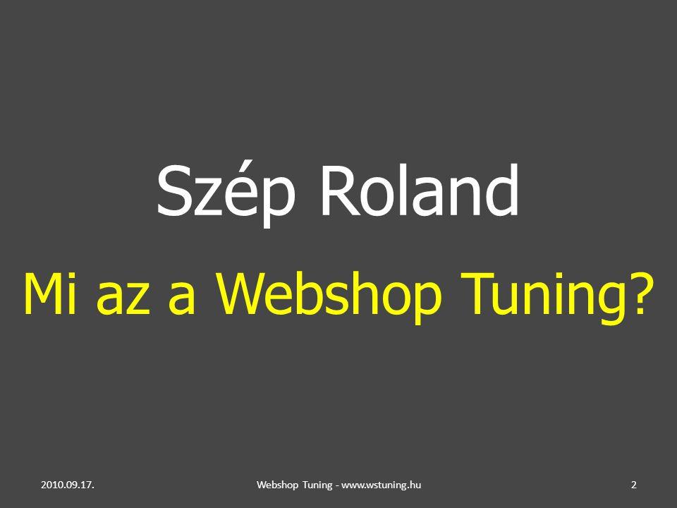 2010.09.17.Webshop Tuning - www.wstuning.hu2 Szép Roland Mi az a Webshop Tuning?