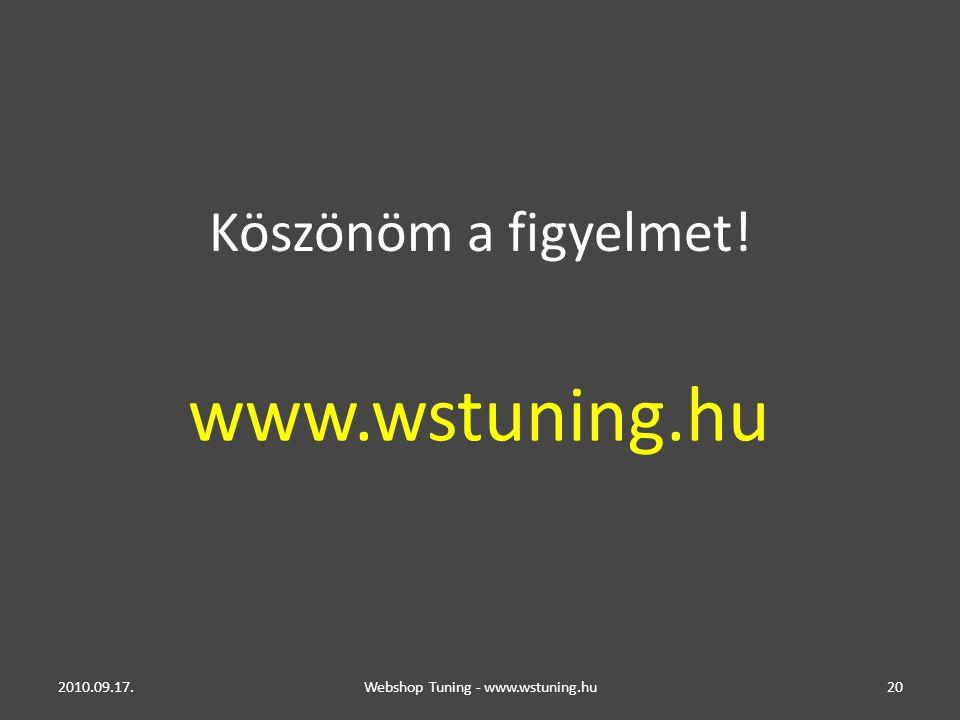Köszönöm a figyelmet! 2010.09.17.Webshop Tuning - www.wstuning.hu20 www.wstuning.hu