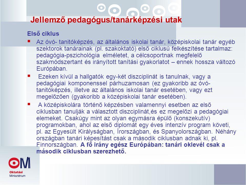 Jellemző pedagógus/tanárképzési utak Első ciklus  Az óvó- tanitóképzés, az általános iskolai tanár, középiskolai tanár egyéb szektorok tanárainak (pl.
