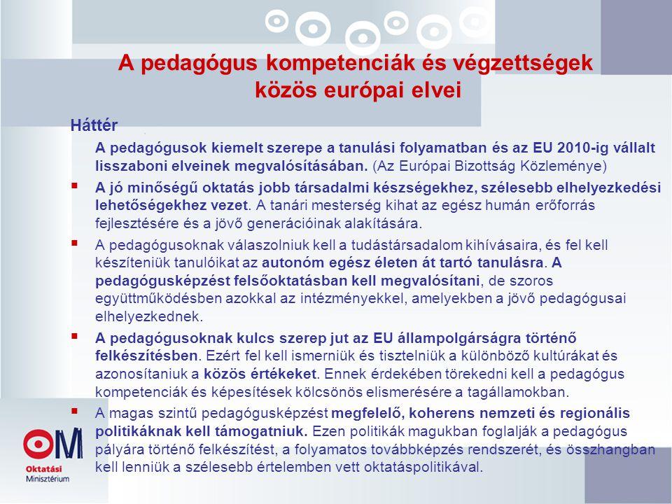 A pedagógus kompetenciák és végzettségek közös európai elvei Háttér A pedagógusok kiemelt szerepe a tanulási folyamatban és az EU 2010-ig vállalt lisszaboni elveinek megvalósításában.