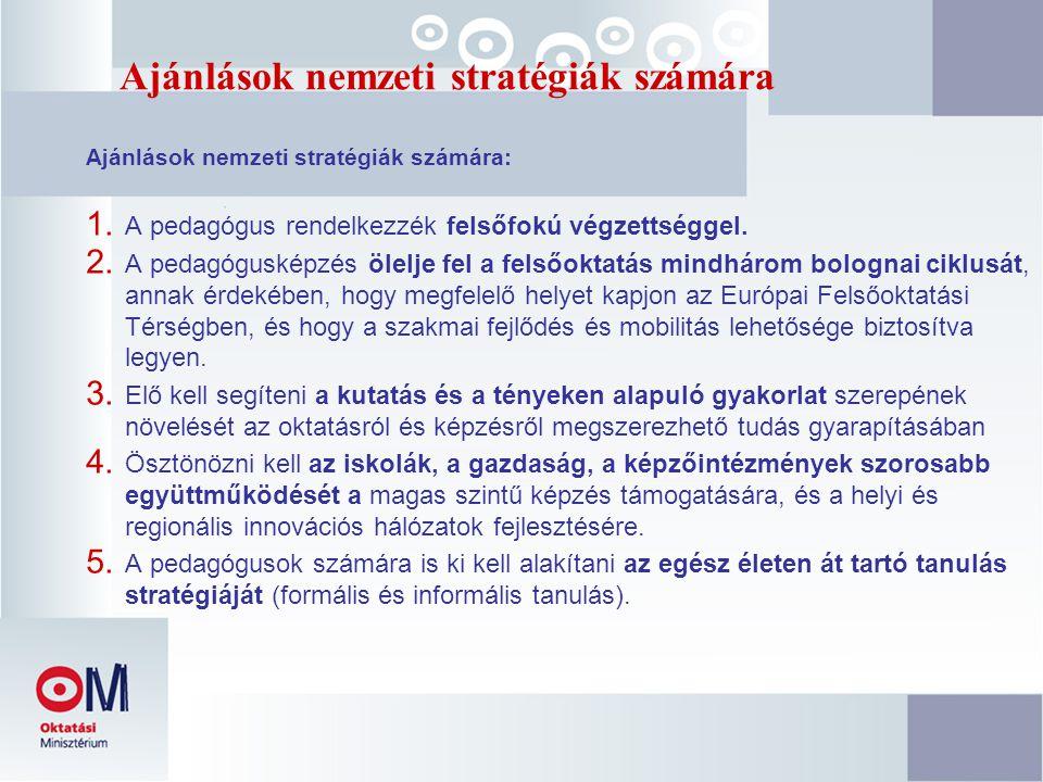 Ajánlások nemzeti stratégiák számára Ajánlások nemzeti stratégiák számára: 1. A pedagógus rendelkezzék felsőfokú végzettséggel. 2. A pedagógusképzés ö