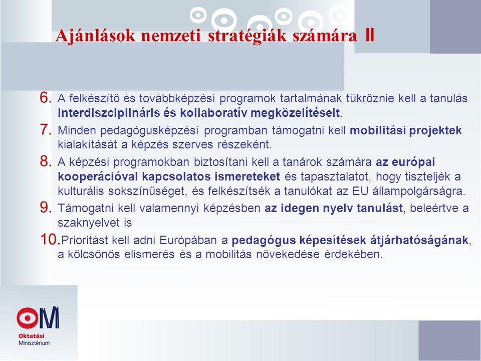 Ajánlások nemzeti stratégiák számára II 6. A felkészítő és továbbképzési programok tartalmának tükröznie kell a tanulás interdiszciplináris és kollabo