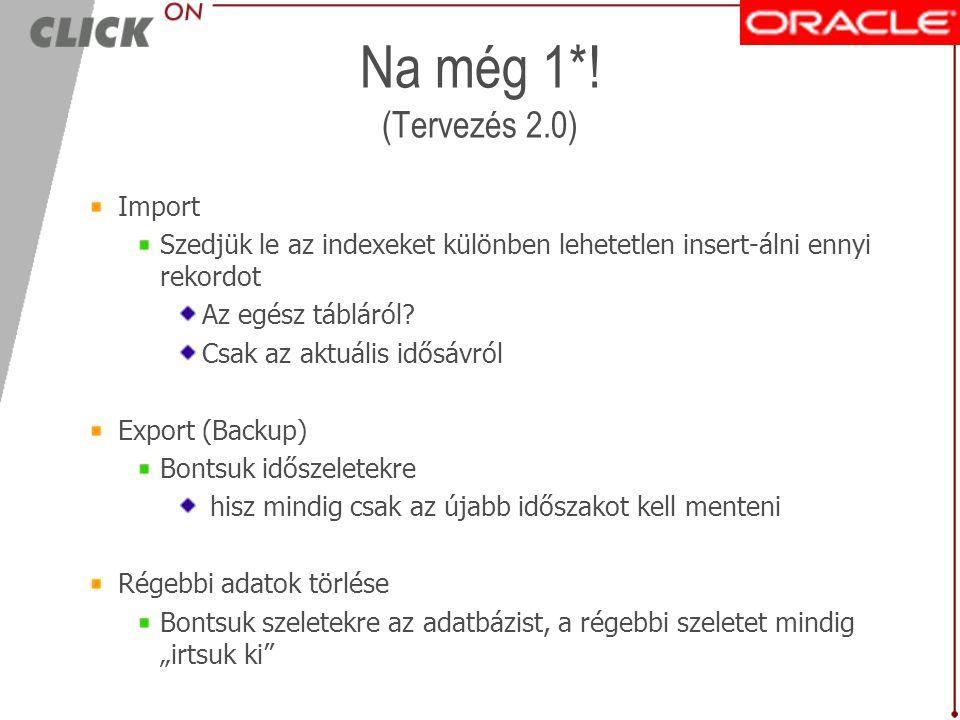 Eredmény 1.0 : csőd! Import Egy napi adat betöltése 3 napig tart !!! Export (Backup) Megoldhatatlan Tuning Oracle varázsparaméterek Oprendszer Diszkek