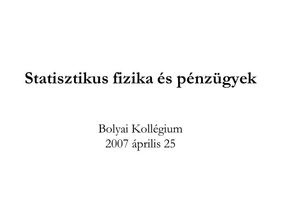 Statisztikus fizika és pénzügyek Bolyai Kollégium 2007 április 25