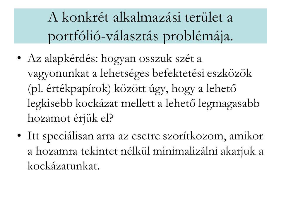 A konkrét alkalmazási terület a portfólió-választás problémája. •Az alapkérdés: hogyan osszuk szét a vagyonunkat a lehetséges befektetési eszközök (pl