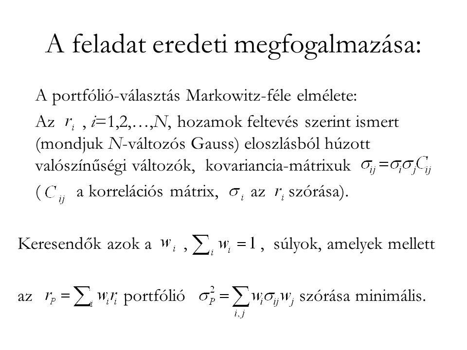 A feladat eredeti megfogalmazása: A portfólió-választás Markowitz-féle elmélete: Az, i=1,2,…,N, hozamok feltevés szerint ismert (mondjuk N-változós Gauss) eloszlásból húzott valószínűségi változók, kovariancia-mátrixuk ( a korrelációs mátrix, az szórása).