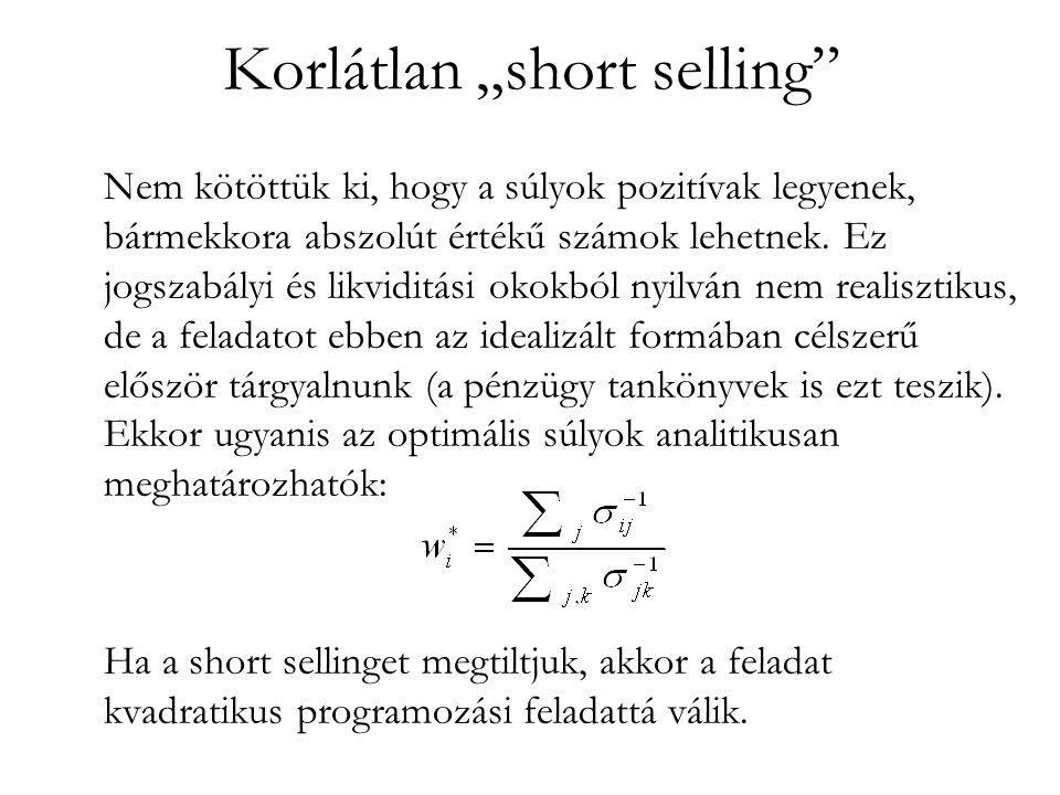 """Korlátlan """"short selling"""" Nem kötöttük ki, hogy a súlyok pozitívak legyenek, bármekkora abszolút értékű számok lehetnek. Ez jogszabályi és likviditási"""
