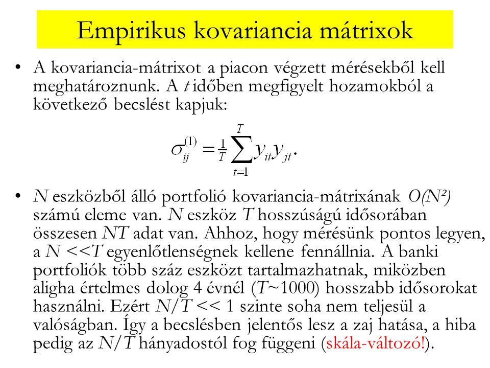 Empirikus kovariancia mátrixok •A kovariancia-mátrixot a piacon végzett mérésekből kell meghatároznunk. A t időben megfigyelt hozamokból a következő b
