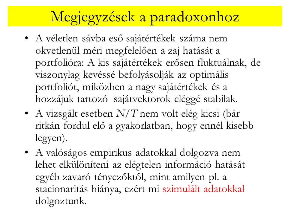 Megjegyzések a paradoxonhoz •A véletlen sávba eső sajátértékek száma nem okvetlenül méri megfelelően a zaj hatását a portfolióra: A kis sajátértékek e