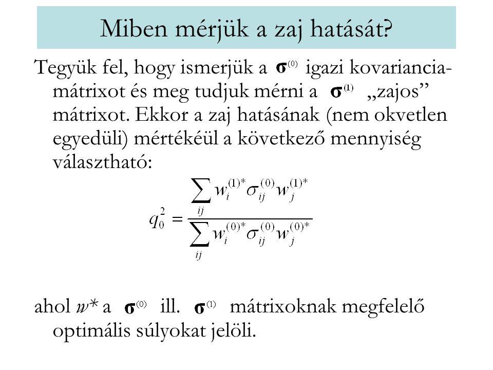 """Miben mérjük a zaj hatását? Tegyük fel, hogy ismerjük a igazi kovariancia- mátrixot és meg tudjuk mérni a """"zajos"""" mátrixot. Ekkor a zaj hatásának (nem"""